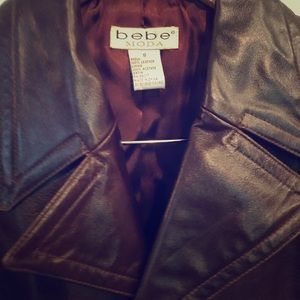 bebe Moda size S 100% Leather Jacket Color Brown
